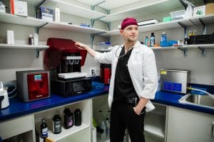 Dr. Turner with 3D Printer
